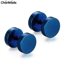 1Pair Fashion Brand 10 Sizes Black Blue Gold Silver Stainless Steel Earrings Men's Barbel Punk Gothic Stud Earrings For Men E110