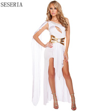 SESERIA Black White Sexy Egyptian Queen Cleopatra Costume Women Halloween Costumes for Adults Long Dress
