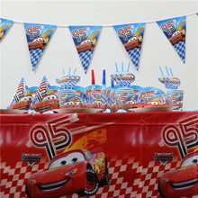 162pc Hot Car Decoration Kids Party Set Baby Shower Dishes Tablecloth Flags Paper Plates Cups Napkins Kids Favors Birthday Party