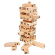 23.5*7.5*7.5cm, 48pcs, BOHS Wood Blocks Tumble Jumble Wooden Tower Building Blocks Folds High Toy for Bar(China)