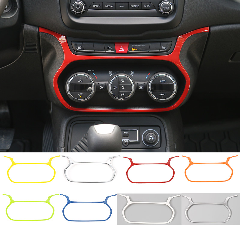 New Style 7 Colors ABS Car Air Conditioning Switch Decorative Car Moulding for Jeep Renegade 2015 up(China (Mainland))