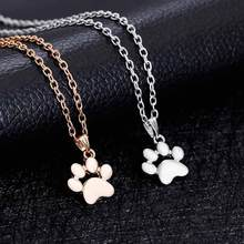 IPARAM Fashion Cute Pets Dogs Footprints Paw Chain Pendant Necklace Necklaces & Pendants Jewelry for Women Sweater Necklace(China)
