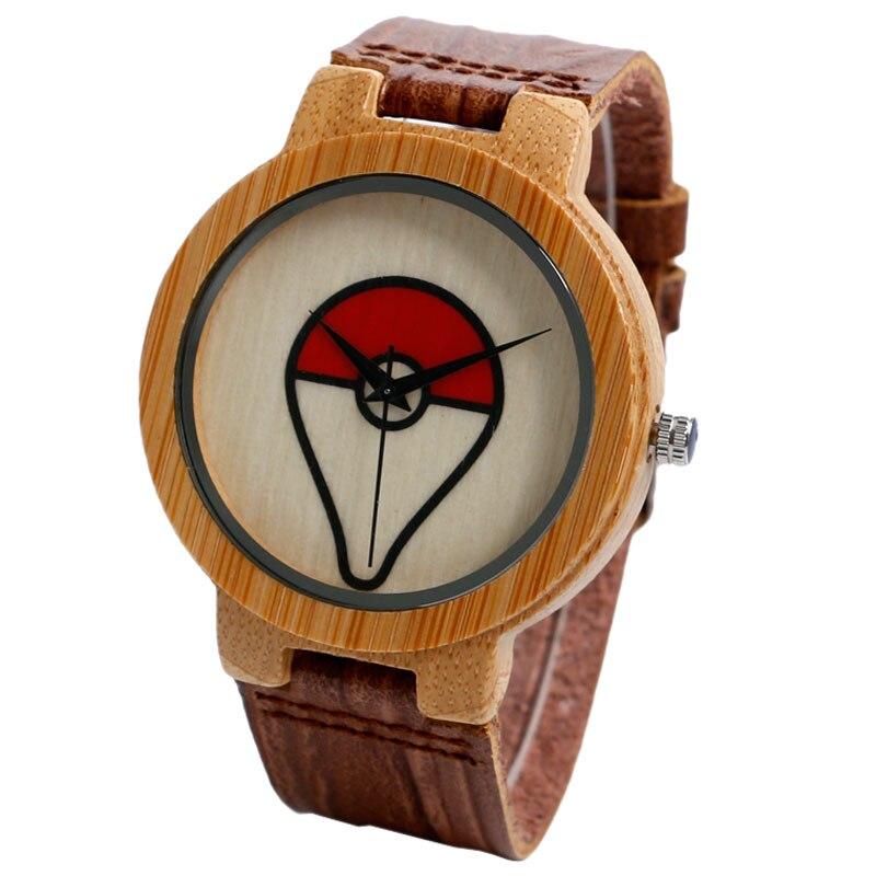2016 Trendy Anime Pokemon Pokeball Pattern Quartz Wooden Bamboo Wrist Watch Vintage Jewelry Metal Cosplay Gift Genuine Leather <br><br>Aliexpress