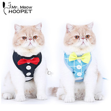 Hoopet Pet Cat Harnesses Cute Leash Dog Collar British Style Cat Outdoor Supply Cat Jacket Leash(China)