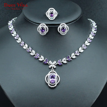 Fetching Purple CZ Silver Color Necklace Earrings Ring Jewelry For Women Fashion Bridal Jewelry Set USA Size 6/7/8/9 Wedding(China)