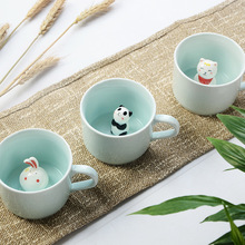Arsmundi Ceramic Milk Mug with 3D Animals Cute Mugs Cartoon Three-dimensional Coffee Cup Heat-resistant Celadon Cup Nice Gift