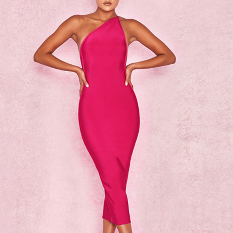 2019 Autumn Women Bandage Dress Vestidos Sleeveless Mid Calf Solid Celebrity Runway Sexy Club Clothes Evening Party Dress