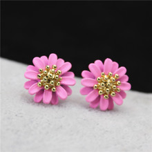 2017 new design fashion brand jewelry  stud earrings for women elegant daisy flower statement earrings girl gift