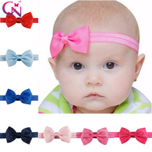20 Pcs/lot Mini Plain Ribbon Bows Tie Headbands For Kids Girls Handmade Boutique Hair Bows Elastic Hairband Hair Accessories(China)
