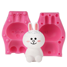 DIY Cartoon Animal Rabbit Toy 3D Silicone Mold Fondant Soap Cupcake Jelly Candy Chocolate Decoration Baking Tool Moulds FQ3358(China)