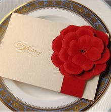 Wishmade CW2033 Wedding invitation Card, Red 3D Flower with Gold Foil Laser Cut Invitation Cards