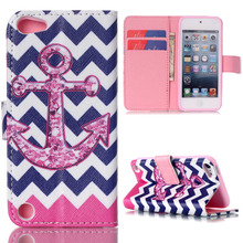 Pink Anchor Blue Wave Design Wallet Flip Stand Pouch Case For Apple iPod Touch 5 5th Leather Cover Coque Fundas For iPod Touch 6(China)