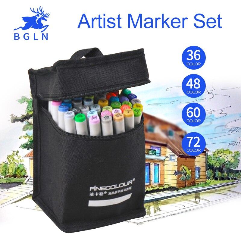 Finecolour Art Sketch Marker Set 36/48/60/72 Colors Design Drawing Marker Alcohol Ink Sketch Marker School Supplies<br>