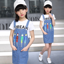 Korean Style Girls Fashion Bodycon Polo Tshirt Denim Dress Overalls 2Pcs Clothing Set Children Summer Tshirt-Dress Suit Set