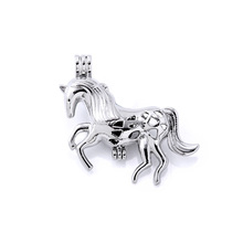 10pcs Trendy Alloy Cool Horse Perfume Diffuser Locket Pendants Beads Charm For Women Men DIY Necklace Making Jewelry Accessories