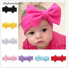Naturalwell Baby Girls Head wrap Headbands Messy Bow Bow knot Headband Fabric Hairband Newborn Turban Cotton headwrap HB432(China)