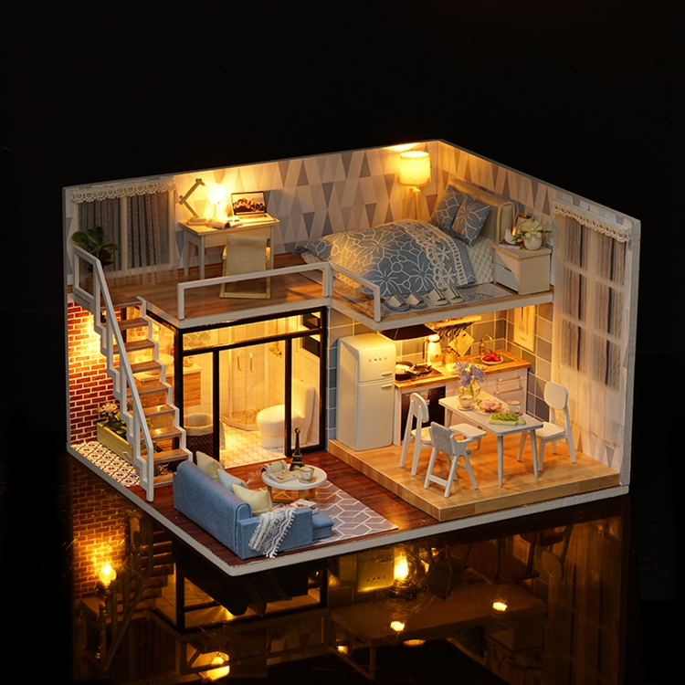 New Arriving DIY Miniature Model Dollhouse Blue Time With Furnitures LED 3D Wooden House Toys Handmade Best Gifts For Children (6)