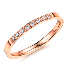 Never Darken Stainless Steel Cute Girl Pinky Ring Rose Gold Plated Cubic Zirconia Rings For Woman Fashion Jewelry
