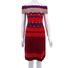 Women's Multi Color Patchwork Rayon Bandage Dress Chic Ladies Day Night Club Party Bandage Dress Vestidos Q93(China)