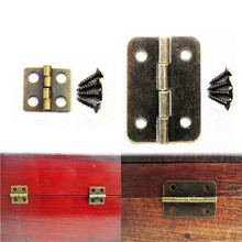 10pcs Antique Brass Vintage Jewelry Gift Wine Wood Wooden Box Hinge With Screws(China)