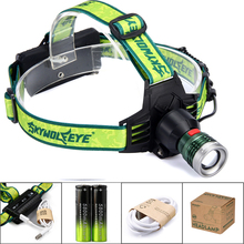 Super Bright LED Projector Headlamp 3000Lumens Waterproof USB Rechargeable Headlamp Head Light 3 Modes For 2x18650 Battery(China)