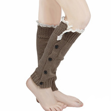 Winter 2016 New Girls Women Trendy Knitted Button Lace Leg Warmers Trim Boot Cuffs knee Socks Y1