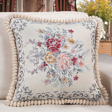 Handmade embroidery high quality bird printed  animal cotton cushion sofa car bed chair seat throw pillow flower A003