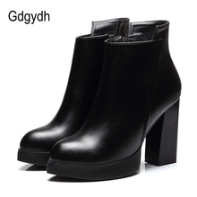 Gdgydh 2017 New Autumn Martin Boots Women Soft Leather Pointed Toe Black Ladies Ankle Boots High Heels Good Quality Party Shoes(China)
