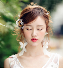 White butterfly ear rings feather e ar clip dress w edding dress accessories 2pcs(China)