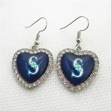6pair/lot Crystal Heart Seattle Mariners Earring US Sports Earrings Baseball Earrings Charms Jewelry Sports Fan(China)