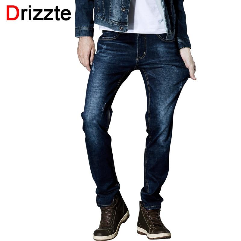 Drizzte Brand High Quality Jeans Mens Fashion Stretch Blue Denim Jeans Trousers Pants Size 33 34 35 36 38 40 42Îäåæäà è àêñåññóàðû<br><br>