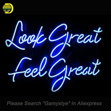 "NEON SIGN For Details about LOOK GREAT FEEL GREAT GLASS HANDCRAFT Home Room Wall SHOP display Custom LOGO Light Signs 17*14""(China)"