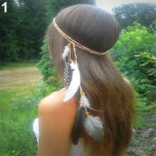 Women Fashion Bohemian Handmede Feather Headband Hippie Braided Hair Accessories Hair Band 8 Colors(China)