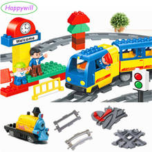 Happywill Train Building Blocks Coach Tracks Kids Toys Railway Assembling Parts Cross Rail Swtich Round Stright Track Accessory