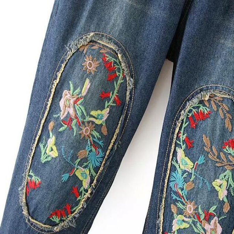 M-3XL Autumn 2017 jeans Women National Style Plus Size Patch Vintage Embroidered jeans Female Loose Thin Drawstring Denim Pants