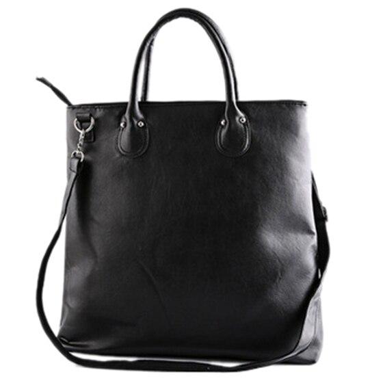 5) ETONWEAG Trendy New Man Black Tote Bag Leather Schoolbag Shoulder Shopping Bag<br>