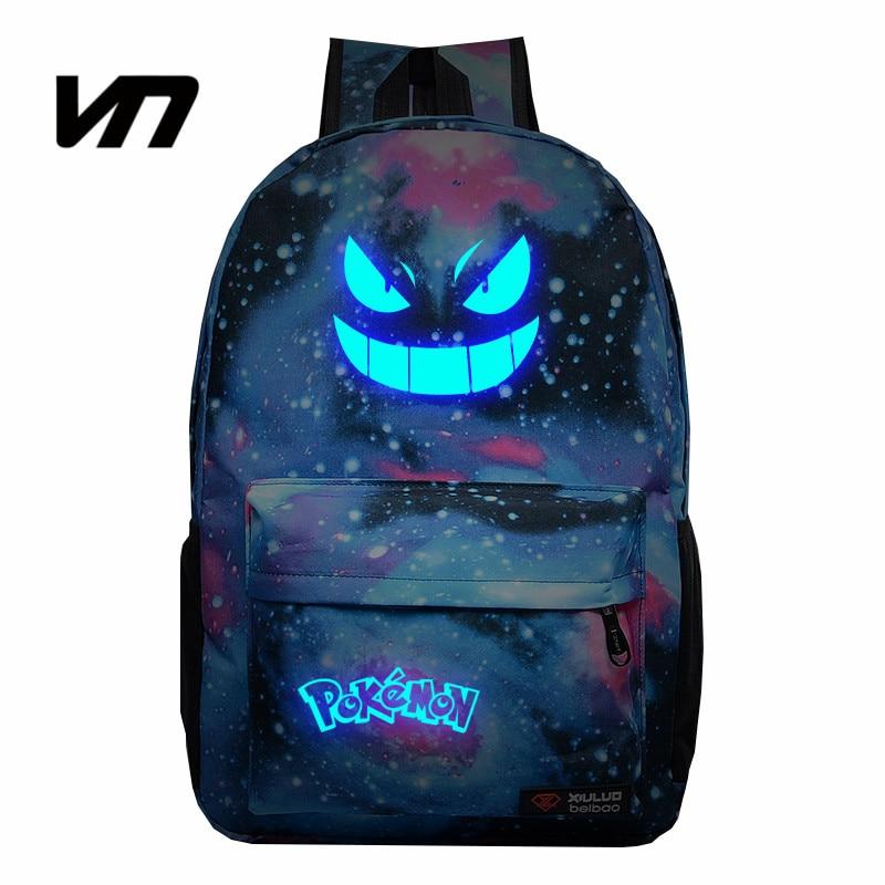 VN Galaxy Luminous Printing Backpack Anime Pokemon Gengar Backpacks Mochila Cartoon Travel Bags Nylon School Bag For Teenagers<br><br>Aliexpress