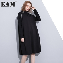 Buy EAM 2017 Autumn Fashion New Solid Color Side Zipper Long Sleeve High Collar Loose Big Size Dress Woman All-match Tide YA174 for $29.58 in AliExpress store