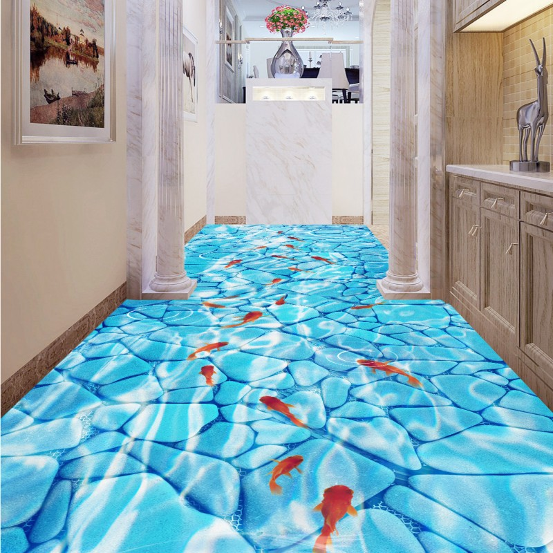 Free Shipping Clean river water corridor toilet 3D floor wear non-slip thickened bedroom bathroom living room flooring mural<br>