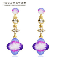 Neoglory Austrian Zinc Light Yellow Gold Color Enamel Drop Dangle Chandelier Earrings For Women Fashion Jewelry 2017 New Brand