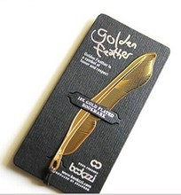 Free ship!1lot=20pc!Creative gold plated Feather bookmarks / stainless steel metal hollow bookmark/nice gift(China)