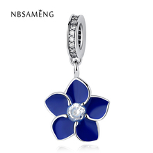 Authentic 925 Sterling Silver Blue Enamel Crystal Orchid Blooms Pendant Beads Charms Fit Original Pandora Bracelets DIY Charms