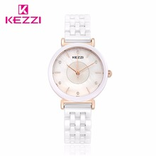 Kezzi Top Brand Woman watches Fashion Ladies Crystal Clock White Ceramics Gold Luxury Women Top Quality Quartz Watch Kw-1478