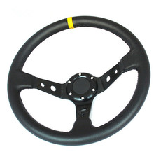 Universal 6 bolts 14inch 350mm OMP Steering Wheel Racing PVC Leather Deep Dish Steering Wheel Horn Button(China)