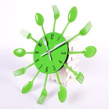 Newest 3D Wall Clock Kitchen Wall Watch Clocks Quartz For Home Office Decor Stainless Steel Knife Fork Modern Design Large