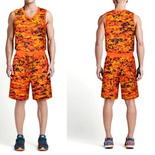New camouflage men college basketball jerseys sport basketball training jerseys kits youth basketball sleeveless uniforms custom