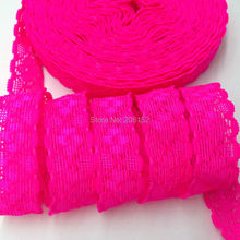 "Good Quality 3/4"" Neon Pink Lace Trim Elastic FOE Lace Elastic Ribbon for DIY Headwear Headband Girls Hair Accessories 10Y/lot"