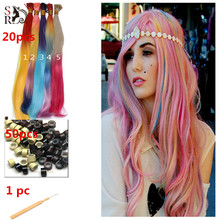 20pcs/lot Ombre I Tip Hair Extension With Free Beads Hook 2 Tones Long Rainbow Loop Grizzly Feather Aliexpress Hair Extensions