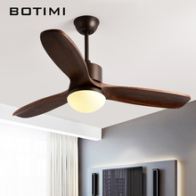 Solid Wood LED Ceiling Fans 220V Ceiling Fans with Lights Bedroom Cooling Ventiladors Blades Cooling Fan For Living Room(China)