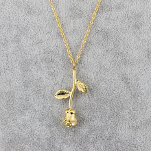 Stainless Steel Chain Gold Rose Flowers Charm Necklace Women Boho Jewelry Luck Clover Collier Fleur De Lis Lotus Choker Femme